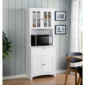 Details about Farmhouse Buffet Hutch Storage Cabinet Pantry Glass Door  Drawer Kitchen Cupboard