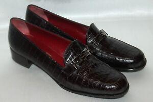 SALVATORE-FERRAGAMO-Sport-Brown-Croc-Leather-Buckle-Loafers-Flats-Sz-8-5-ITALY