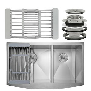 33-034-x-20-034-x-9-034-Apron-Farmhouse-Handmade-Stainless-Steel-Double-Bowl-Kitchen-Sink