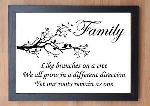 Details about STUNNING FRAMED LIFE / FAMILY INSPIRATIONAL QUOTE / LIKE  BRANCHES ON A TREE...