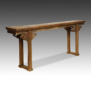 Exceptionnel Image Is Loading LARGE CHINESE CARVED LACQUERED ELM WOOD ALTAR TABLE