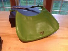 EUC Prada Green Leather Chain Small Bagette Handbag Nappa Catena in Mela