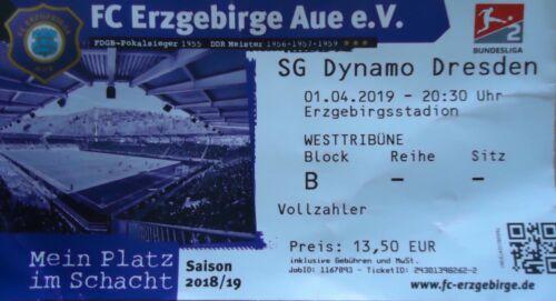 SG Dynamo Dresden Sammler TICKET 2 BL 2018//19 FC Erzgebirge Aue