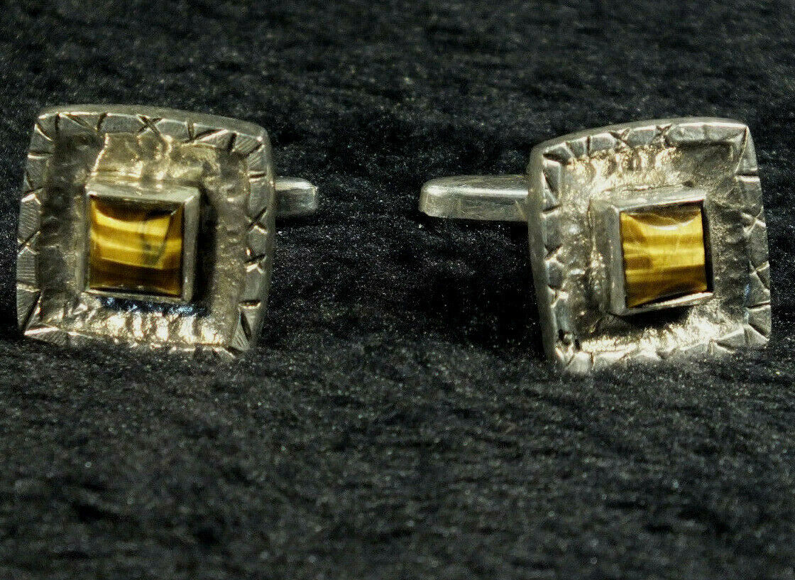 Silver & Tigers Eye Cufflinks - Vintage; Retro Look - Good Weight; 835 mark