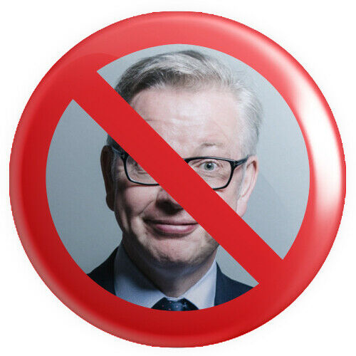 No Sign Michael Gove BUTTON PIN BADGE 25mm 1 INCHBrexit European Referendum