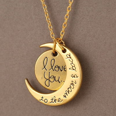 Gold Plated 'I LOVE YOU TO THE MOON AND BACK' Necklace Pendant Length 18