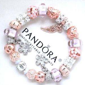 Pandora Bracelet Silver With Angel Wing Rose Gold Pink European