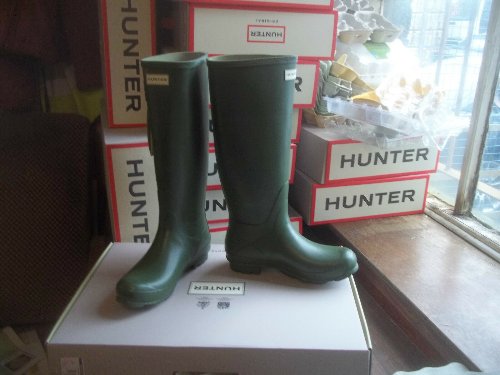 VINTAGE Grün NORRIS HUNTER WELLINGTONS IN HALIFAX Größe 5  damen LADIES  TALL
