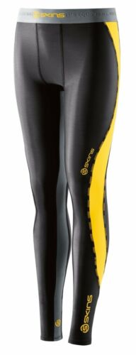 SKINS DNAMIC YOUTHS COMPRESSION LONG TIGHTS BLACK//CITRON