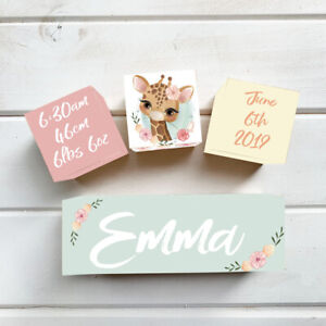 Details About Wooden Blocks Name Personalised Baby Gift Nursery Decor Pastel Jungle