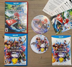 Nintendo-Wii-U-Mario-Kart-8-amp-Super-Smash-Bros-Game-Lot-Complete-TESTED-amp-WORK