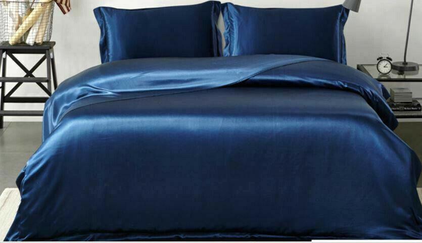 100%SILK SHEET Q-BedRich Navy Blau Quality Lush4PCEA-Grade22.5Mm BUY NOWBR