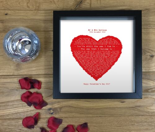 Any Song Lyrics Poem Words Print Valentines Gift Personalised Anniversary Gift