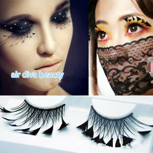 467a54c474f Lady Long Black Fairy Feather Exaggerated Party Fake False Eyelashes ...