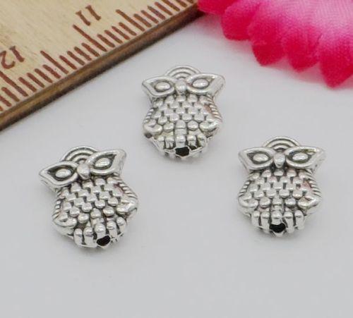 Free Ship 300PCS Tibetan Silver Spacer Beads Owl Pendant Jewelry Making 10x8mm