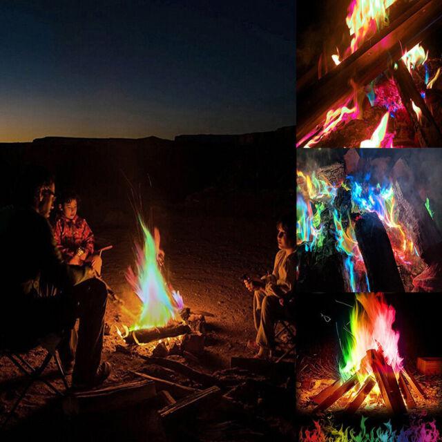 1x Mystical Fire Magic Tricks Bonfire Camp Fire Colorful Flame Powder Games Toy