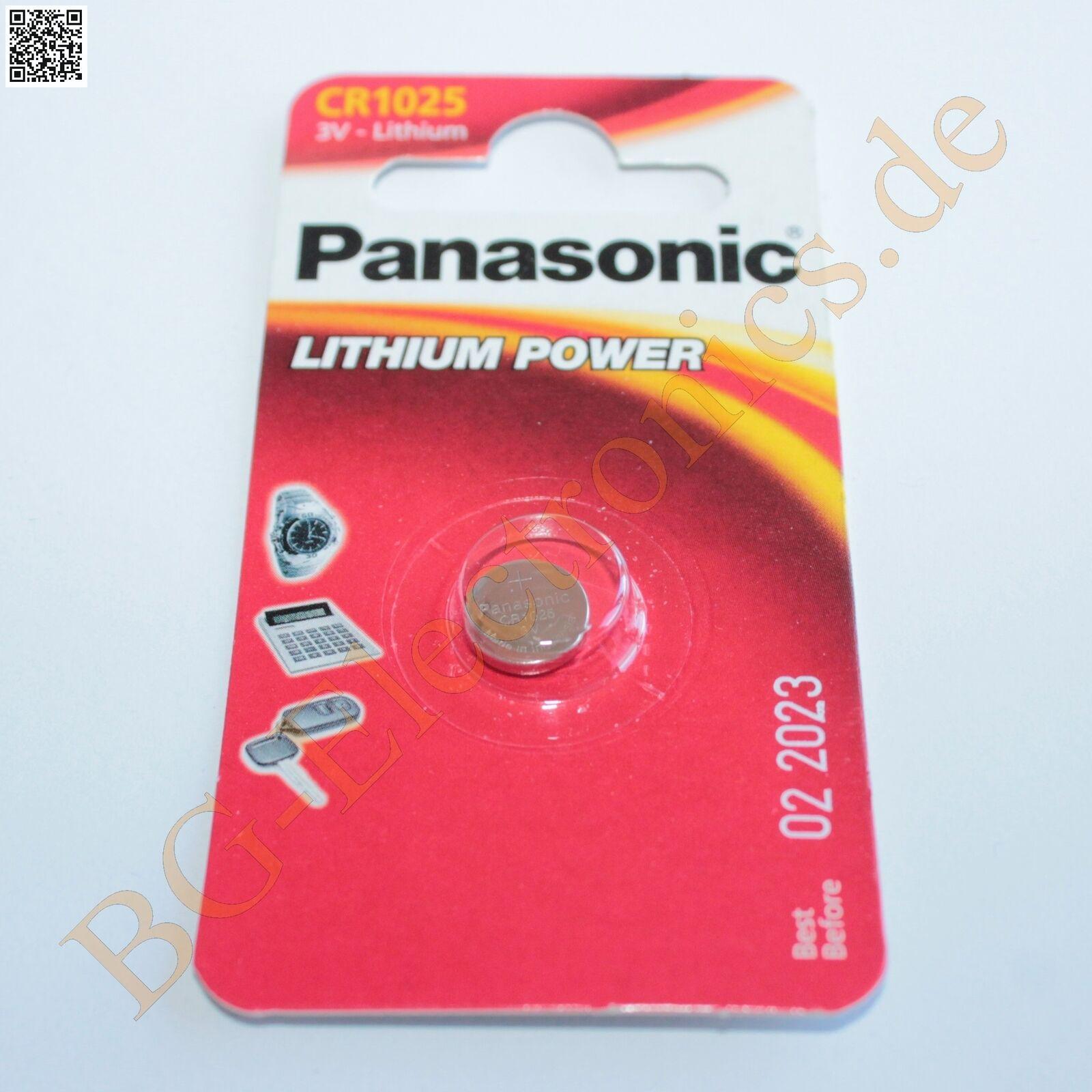 2 x CR1025 Lithium Power Battery 2.5mm 10mm 3V Panasonic Coin Cell 2pcs