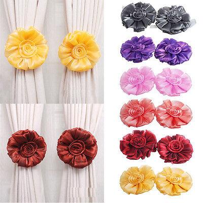 1Pair Curtain Hook Rose Flower Window Curtain Tieback Buckle Clamp Hook Fastener