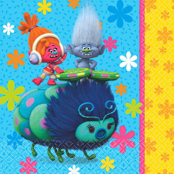 Trolls Party Supplies LUNCH NAPKINS 2 Ply Pack Of 16 Made In USA Genuine