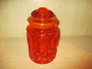 Vintage-L-E-Smith-Red-Amberina-Moon-amp-Stars-Glass-9-034-Canister-Gorgeous