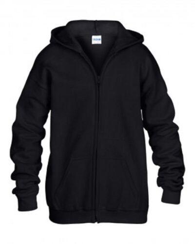 Gildan Kids Heavy Blend Full Zip Hooded Sweatshirt Children Plain School Sports