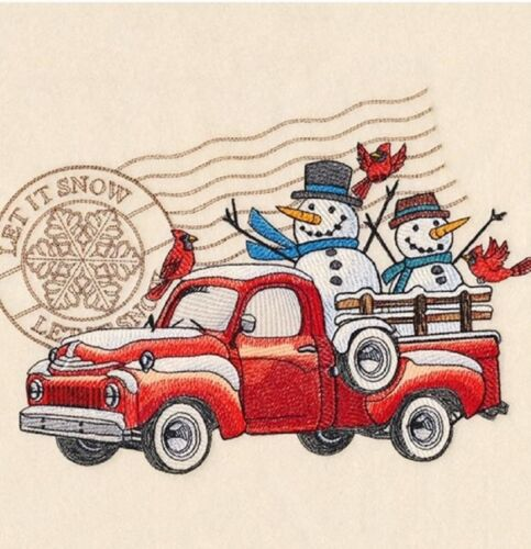 TRUCK CHRISTMAS SNOWMAN RETRO FIND BATHROOM TOWELS EMBROIDERED BY LAURA