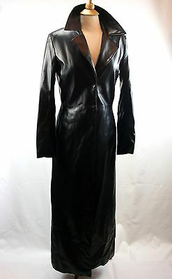 Faux Black Leather Full Length Coat Size Small Evolution Not Revolution Edgy