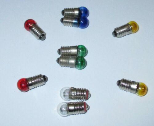 """Farbe nach Wahl 10 x  /""""NEU/"""" Ersatzlampen 6mm Kugel Farbig E5.5-3,5V"""