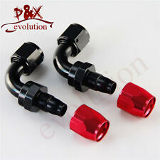 Black AN10 10-AN 90 degree swivel Hose End Fitting / Oil Fuel Line Adapter 2pcs