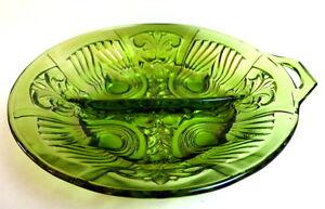 Indiana-Green-Glass-Divided-Relish-Dish-Bowl-Paisley-Scroll