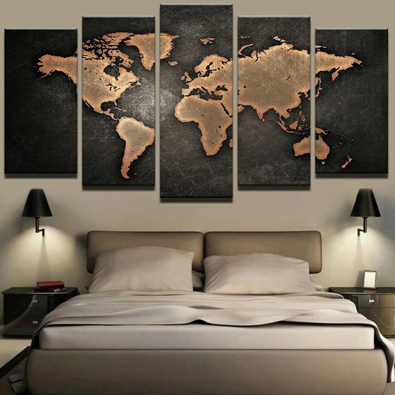 5 Panel Industrial Map of the World Modern Décor Wall Art Canvas HD Print