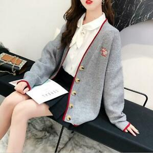 Womens-Chic-Preppy-Style-Two-Tone-V-Neck-Embroided-Knitted-Sweater-Cardigan-SKGB
