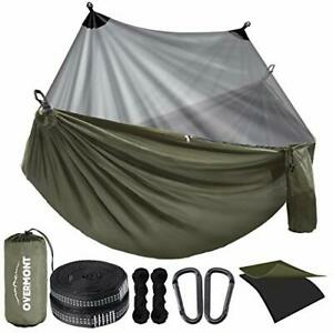 Camping Hammock with Mosquito Net Double Layer 106 x 55 inches Green(with Net)