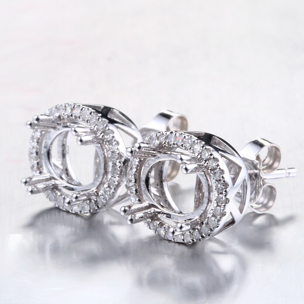 10K White gold Semi-Mount Pave.2ct Diamonds 5x7mm Oval Engagement Fine Earrings