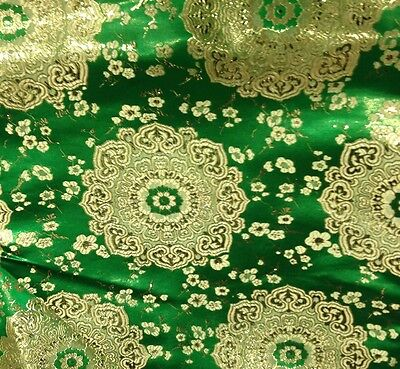 "GREEN GOLD METALLIC BROCADE FABRIC 60"" WIDE 1/2 YARD"