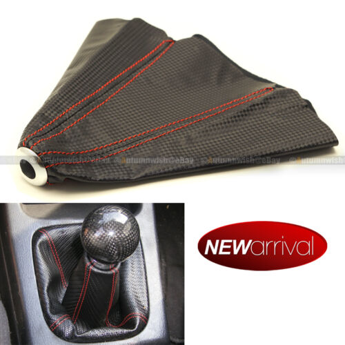 For S10 4 Row Red Stitches Carbon Fiber Look Shift Knob Shifter Boot Cover