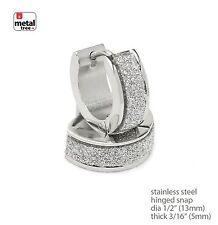 2pc Men's Women Punk Stainless Steel Huggie Hoop Hinged Snap Earrings SSHE 023 S