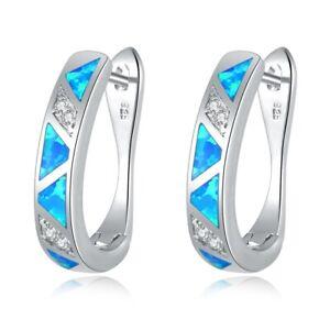 Blue-Fire-Opal-Zircon-Women-Jewelry-Gemstone-Silver-Hoop-Earrings-19mm-OH2450