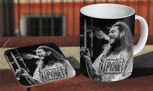 Post Malone Face Tattoos Ceramic Coffee MUG Wooden Coaster Set