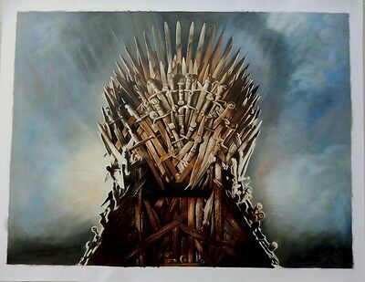Game Of Thrones Iron Throne Art Oil On Canvas Painting Huge 30x40 Original Ebay
