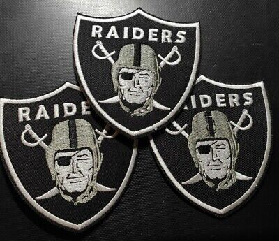 Lot of 3 Los Angeles Raiders Embroidered Patches LargeRaiders Jersey Shirt etc