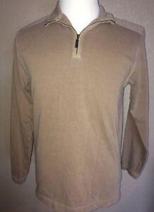 L-L-Bean-1-2-Zip-Pullover-Beige-Men-039-s-Shirt-Size-Small-Reg