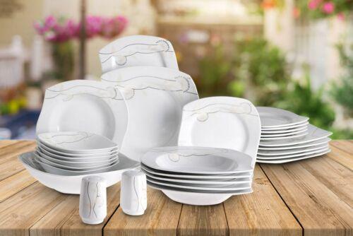 Porzellan Tafelservice Ess Geschirr Set 28 Tlg. Weiß Schwarz 6 Pers. Hochwertig