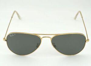 Ray Ban RB3025 Aviator Classic 001 58 Gold Frame Polarized Green ... 275edd296f