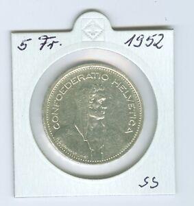 Schweiz-5-Franken-1952-Silber-sehr-schon