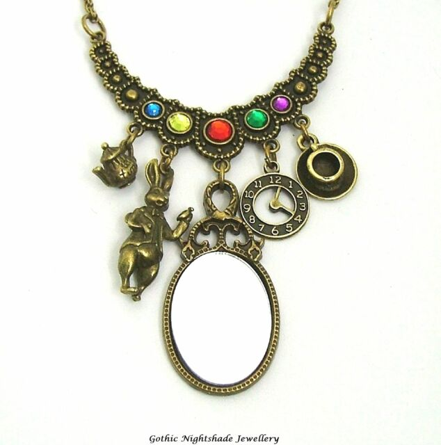 Alice in Wonderland Through the Looking Glass Bronze Charm Necklace Steampunk