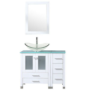 Details About 36u0027u0027 White Bathroom Vanity Cabinet Clear Tempered Glass  Vessel Sink Drain Faucet