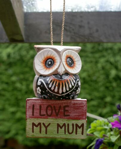 17cm Cute Owl I Love My Mum Hanging Ornament Garden Decor