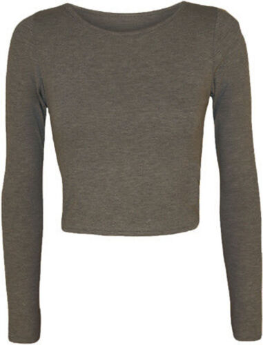 WOMENS LADIES LONG SLEEVE CROP TOP SHORT TSHIRT ROUND NECK JERSEY STYLE 8-14