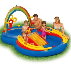 Kiddie Adventure Kids Toddlers Play Swim Pool Large Yard Inflatable Rainbow New